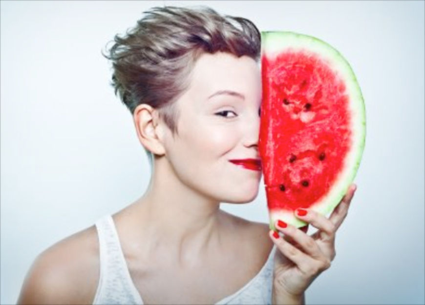 woman and watermelon