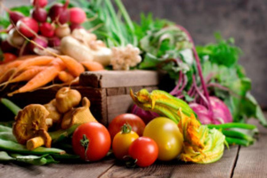 A selection of fresh organic vegetables on display. Shallow dof